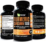 BE HERBAL Organic Turmeric Curcumin with Bioperine 1500mg – The Most Potent Turmeric Curcumin Supplement with 95% Standardized Curcuminoids – Enhanced with Ginger Extract – 120 Veg Capsules