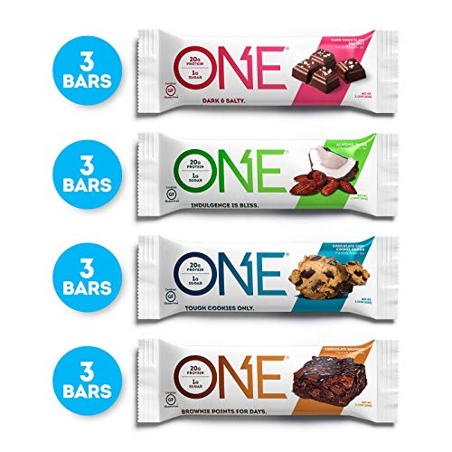 ONE Protein Bars, Chocolate Lovers Variety Pack, Gluten Free 20g Protein and only 1g Sugar, Dark Chocolate Sea Salt, Chocolate Chip Cookie Dough, Chocolate Brownie & Almond Bliss, 2.12 oz (12 Pack)