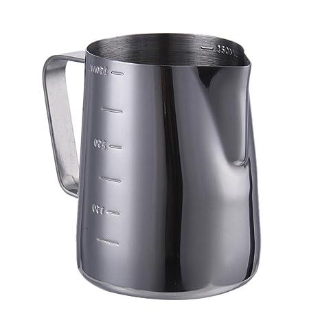 Jarra para leche de acero inoxidable con línea de medición para café, crema de espuma