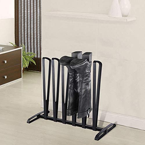 YINMAKE Boots Rack, Iron Storage Rack, Holds 3 Pairs of Wellies, Walking Boots or Shoes, Indoor and Outdoor Shoe Storage Solution, Wellington Boot Stand, Black