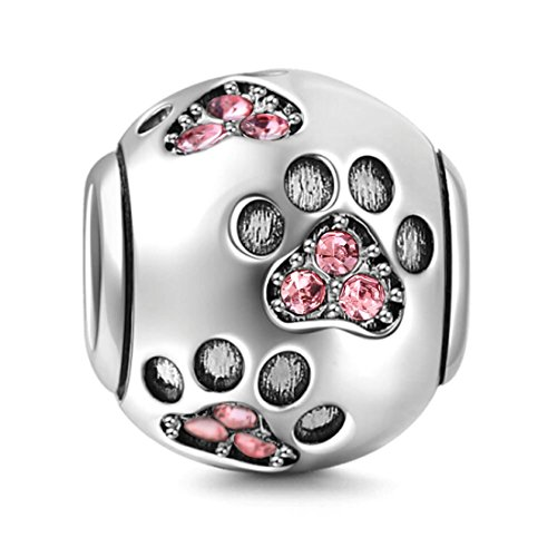 Paw Pet Charms - 925 Sterling Silver Dog Charm Paw Charm Pet Charm Animal Charm Anniversary Charm Christmas Charm for Pandora Charms Bracelet (Pink)