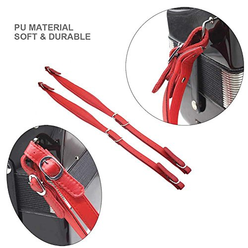 1 Pair Adjustable Accordion Shoulder Strap Durable PU Leather Arm Straps Set for Accordion (Red) by Vbestlife (Image #3)