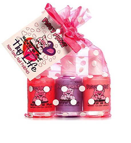 (Piggy Paint - 100% Non-Toxic Girls Nail Polish, Safe, Chemical Free, Low Odor for Kids - 3 Polish Gift Set - Hug Life)
