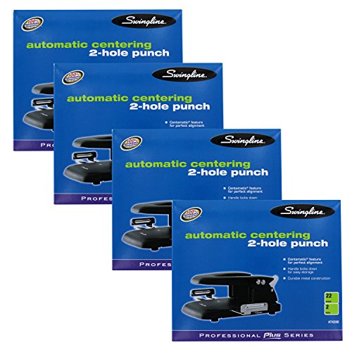 """UPC 638865975593, """"Swingline 22-Sheet Automatic Centering 2-Hole Steel Punch, Black, Pack of 4 Punches"""""""