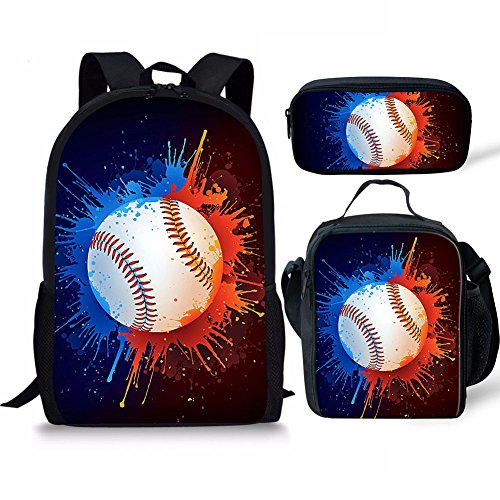 FANCOSAN Baseball Print Boys Girls Backpack Daypack Set 3 Pieces School Bookbag Lunchbox Pencil Bag ()