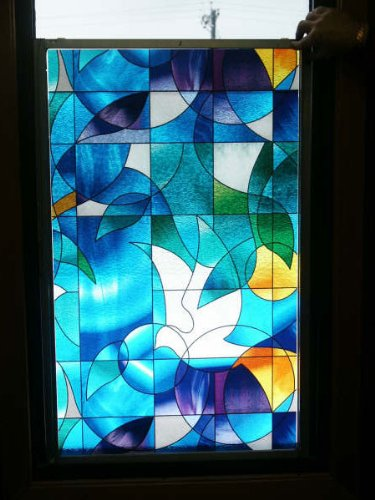 Dove Stained Glass Decorative Privacy Window Film 36