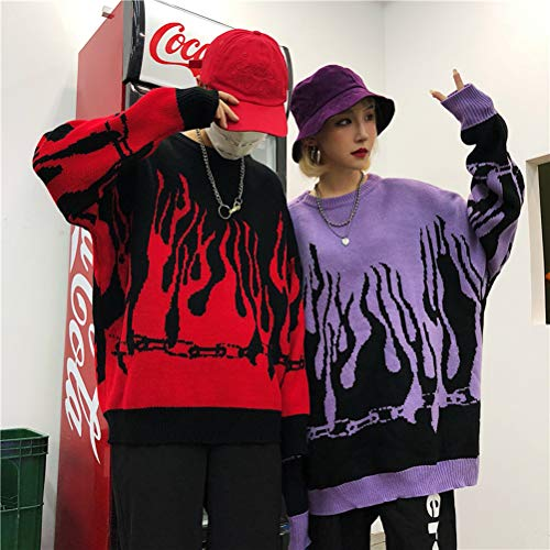 Enfei Women Sweater Long Sleeve Flame Bat Sleeve Jumper Oversized Casual Knitting Pullover Tops
