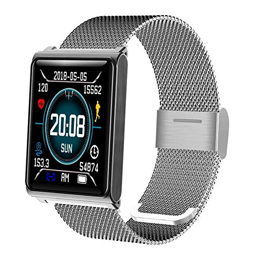 (PXYUAN Smart Watch with Waterproof Smart Fitness Band with Step Counter, Calorie Counter, Pedometer Watch, for Women, and Men-Silversteel)