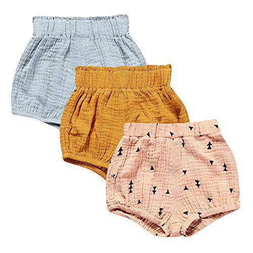 - Mary ye Baby Girls Boys 3 Pack Cotton Linen Blend Cute Bloomer Shorts