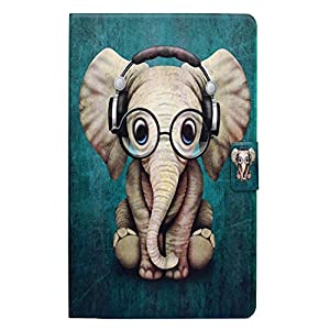Kindle Fire HD 7 2015 Case, Gift-Hero(TM) 360 Degree Rotating Leather Flip Cover Swivel Stand Protector Case for Amazon Kindle Fire HD 7 inch 2015 Tablet (Cute Cartoon Elephant)