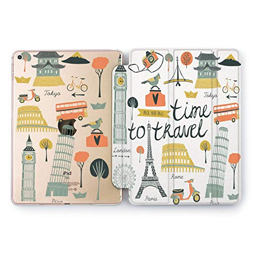Wonder Wild Time to Travel Design Case for Apple iPad 2 3 4 Pro 9.7 11 inch Mini 1 2 3 4 5 Air 2 10.5 12.9 2018 2017 5th 6th Gen Clear Smart Hard Cover London Paris Tokyo Rome Scooter Bicycle Tourism -