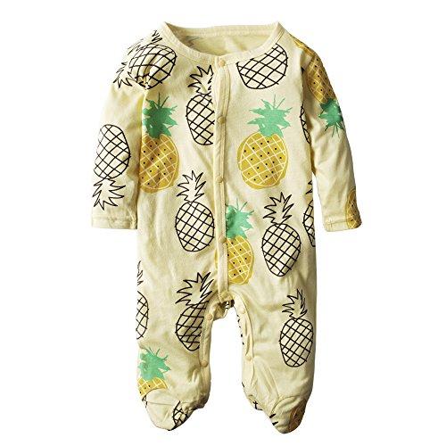 BIG ELEPHANT Boys'1 Piece Fruit Print Long Sleeve Romper Pajama J61 9-12 (Elephant Fruit)