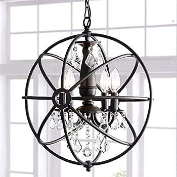Benita antique black 4 light iron orb crystal chandelier amazon benita antique black 4 light iron orb crystal chandelier aloadofball Image collections