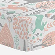 Carousel Designs Gray and Peach Woodland Animals Crib Sheet - Organic 100% Cotton Fitted Crib Sheet - Made in The USA