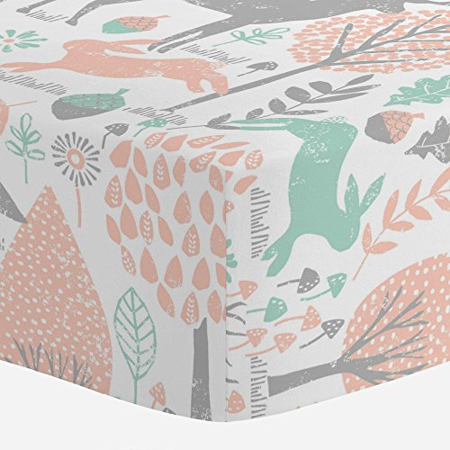 Carousel Designs Gray and Peach Woodland Animals Crib Sheet