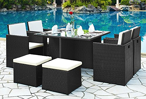 pe rattan gartenm bel cube set esstisch stuhl fu schemel 9. Black Bedroom Furniture Sets. Home Design Ideas