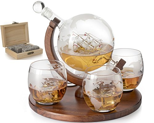 Etched World Decanter whiskey Globe - The Wine Savant, Whiskey Gift Set Decanter with Antique Ship, Whiskey Stones and 4 World Map Glasses, Great Gift - Alcohol Related Gift ()
