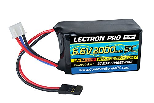 Lectron Pro 6.6V 2000mAh 5C Life Receiver Hump Pack Battery with Servo Connector for Receivers and ()