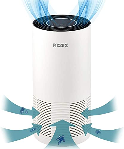 Rozi Air Purifier for Large Room, Air Cleaner and Pets, Smokers, Pollen, Dust, Quiet Eliminators for Home Office, Energy Star, Smart Sensor, 430 Sq.Ft