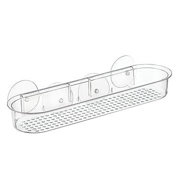 interdesign basic duschablage ohne bohren lange badablage mit saugnpfen aus kunststoff durchsichtig - Duschablage Kunststoff
