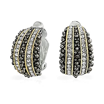 Bling Jewelry Bali Style Beaded Caviar 2 Tone Crystal Half Hoop Clip On Earrings Gold Plated Alloy hot sale