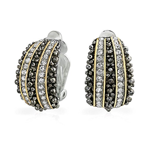 Bling Jewelry Bali Style Beaded Caviar 2 Tone Crystal Half Hoop Clip On Earrings Gold Plated Alloy (Hoop Half Two Tone)