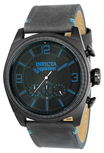 Invicta Men's 'Aviator' Quartz Stainless Steel and Leather Casual Watch, Color:Grey (Model: 22987) -  886678280919