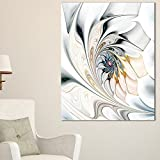 Design Art White Stained Glass Floral Art Large Floral Wall Art Canvas, 30x40'', White