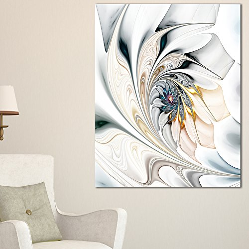 Design Art White Stained Glass Floral Art Large Floral Wall Art Canvas, 30x40