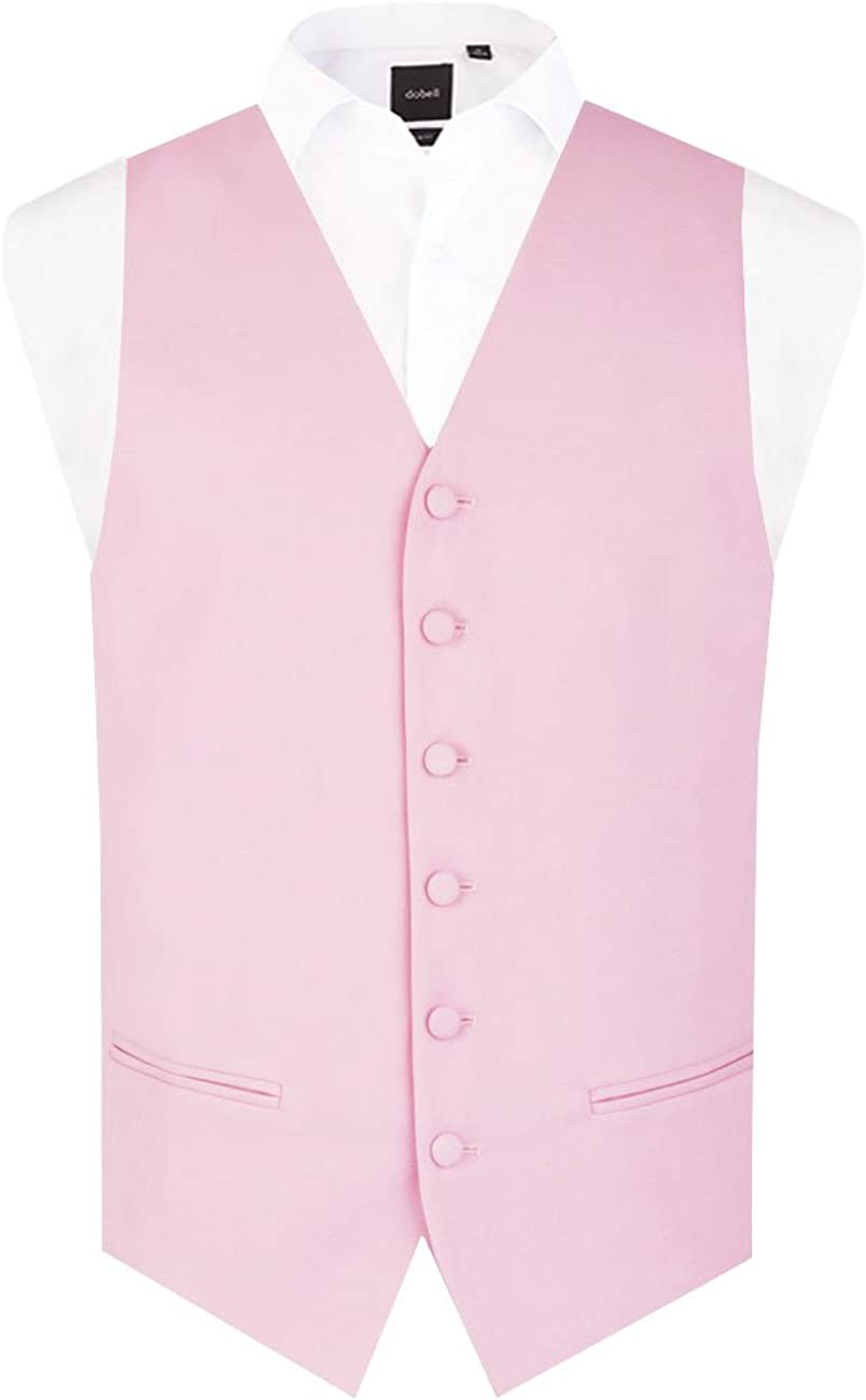 Dobell Mens Pastel Pink Morning Suit Wedding Waistcoat Regular Fit Single Breasted