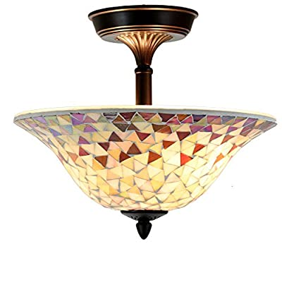 "Cloud Mountain Tiffany Style 14"" Lampshade Ceiling Lamp Venetian Amber Mosaic Stained Glass Mount Lighting"