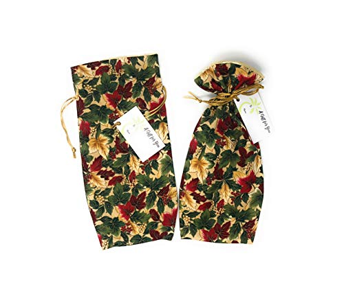 """(Holiday Leaf Motif Fabric Reusable Drawstring Gift Bag   Eco-Friendly Alternative to Paper giftwrap for Wine Bottle   Christmas, Holidays   Cotton Cloth, Fully-Lined Lamé, 13.25""""x 6"""