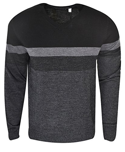 Calvin Klein Men's Merino V-Neck Sweater, Black Jack Combo, 2X-Large by Calvin Klein