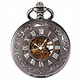 Carrie Hughes mechanical Retro Pocket watch with chain Steampunk Skeleton Hand-wind + Gift Box CHPW07