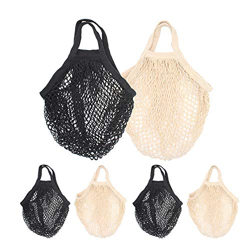 (STONCEL Cotton Net Shopping Tote, Reusable Grocery Mesh Produce Bag, Washable Market Beach Toy String Rope Storage Bags (3black3white))