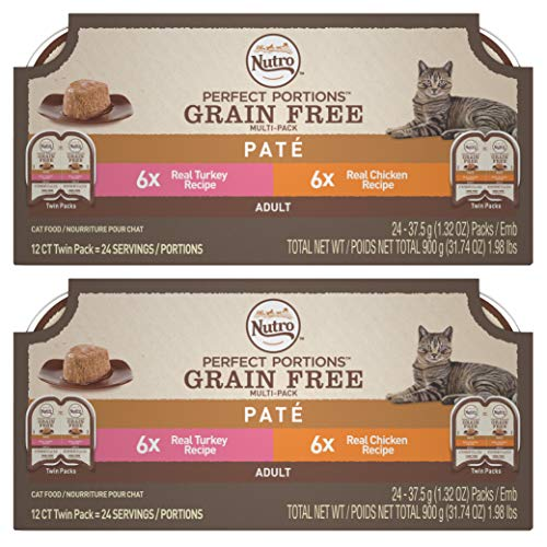 NUTRO PERFECT PORTIONS Grain Free Natural Adult Wet Cat Food Paté Real Turkey and Real Chicken Recipes Variety Pack, (24) 2.6 oz. Twin-Pack Trays
