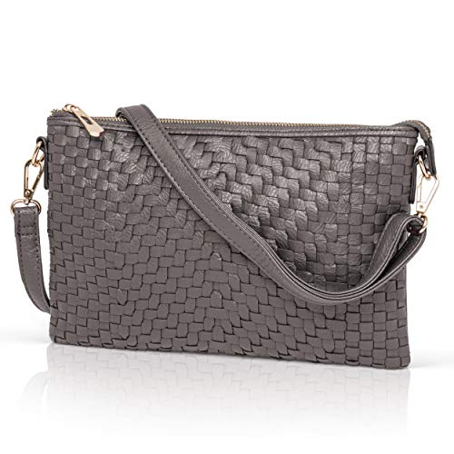 Gray Crossbody Bag for Women - Woven Faux Leather Clutch Purse Wristlet - Gray Woven Leather