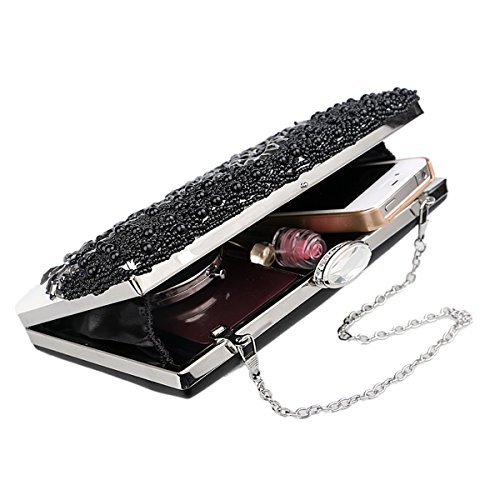 Women's Wedding Beaded Bridal Party Evening Black Crystal For Clutch Evening Bag Prom Bag Purse 6x0S6wZ1rq
