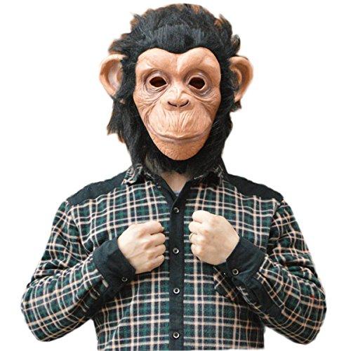 Novelty Latex Big ears Gorilla Mask Headwear Monkey Halloween Christmas Party Monkey Dark (Youth Gorilla Costume)
