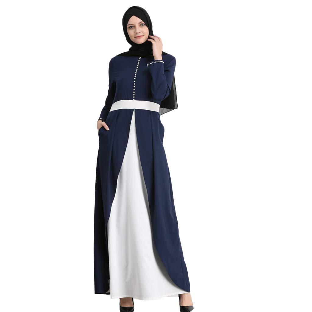Randolly Women's Dresses,Islamic Muslim Arab Pearl Maxi Robe New Women Abaya Kaftan Long Dress Jilbab Blue