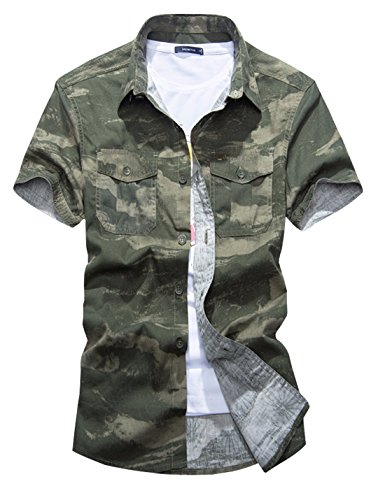 (Gihuo Men's Pure Cotton Military Style Short Sleeve Button Down Camo Cargo Shirt with Pockets (Army Green, Large))