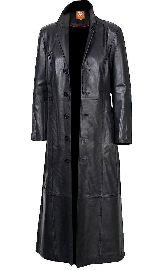 2nd Skin Men's Black Long Coat, Trench Coat Original Lambskin Leather Glossy Finish ●→ 5-859