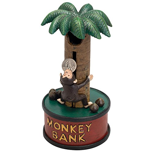 Bits and Pieces - Monkey up A Tree Cast-Iron Mechanical Bank - Novelty Personal Coin Bank Animal Lovers Collectors