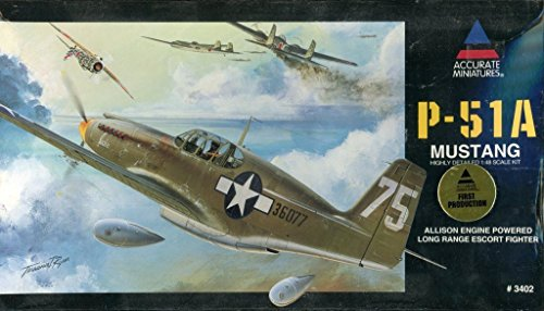 Accurate Miniatures 1:48 Nroth American P-51A Mustang Plastic Model Kit #3402
