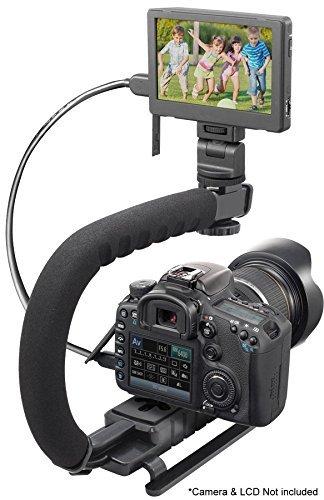 Pro Video Stabilizing Handle Grip for: HP Photosmart M417 Vertical Shoe Mount Stabilizer Handle