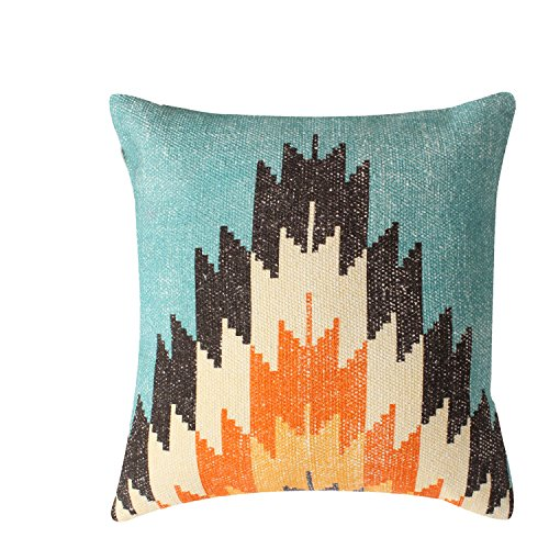 ThymeHome Rustic Kilim Printed Hand Woven Dhurri Pillow :- 100% Cotton Decorative Accent Pillows 18 x 18 Inch ()