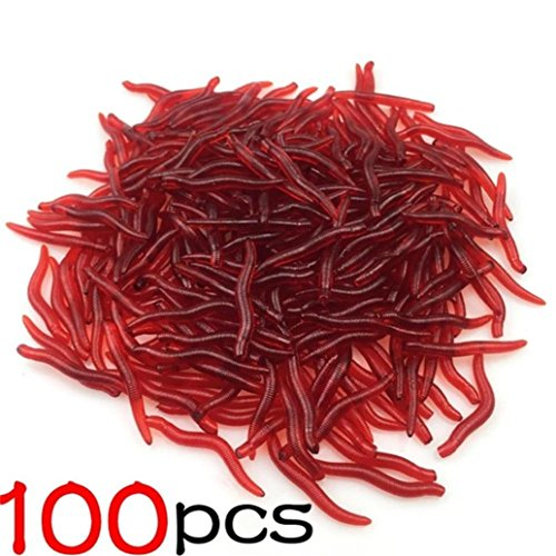 UMFun 100Pcs Fishing Bait Soft Lure Belly Chest Fork Dice Simulation Earthworm Fishing Bait 4cm ()