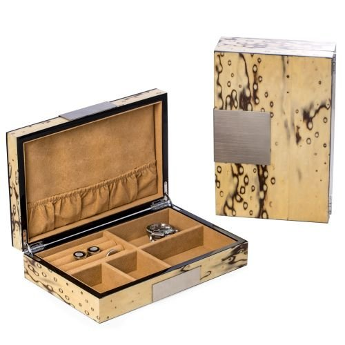 - Bey-Berk BB597IVR Lacquered Exotic Ice Burl Wood Valet Box with Stainless Steel Accents and Multi Compartments Storage. Brown