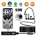 Wireless Endoscope, KZWUS 2.0MP 1200P HD Semi-rigid WiFi Borescope 16.5FT Snake Camera Wifi Endoscope Inspection Camera with 8 Adjustable LED Lights for iPhone Android Smartphones Table PC iPad Macbo