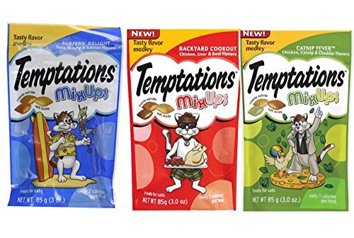 Catnip Liver Treat (Temptations Cat Treats MixUps Variety Pack - 3 Flavors (Backyard Cookout, Surfers Delight, & Catnip Fever) 3 Pouches - 3 Oz Each)